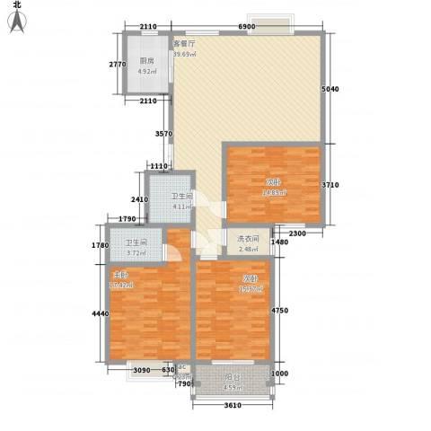 领汇双河湾3室1厅2卫1厨147.00㎡户型图