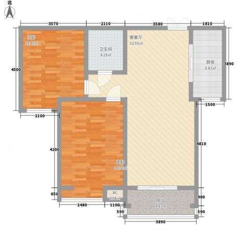 领汇双河湾2室1厅1卫1厨101.00㎡户型图