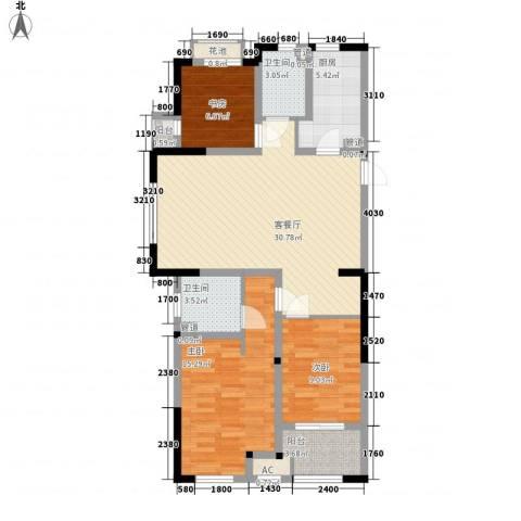 常发香堤半岛3室1厅2卫1厨115.00㎡户型图