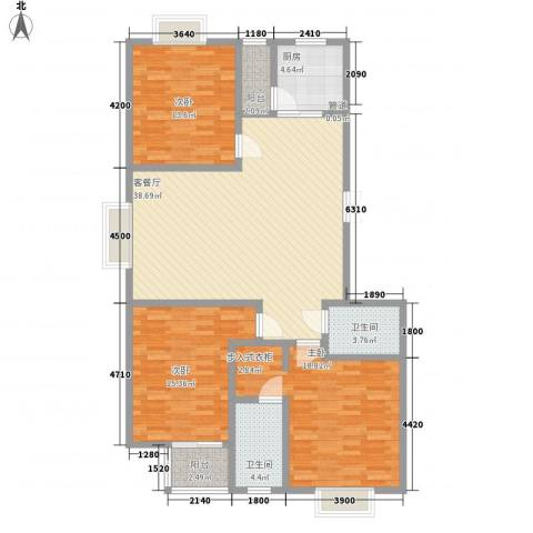领汇双河湾3室1厅2卫1厨143.00㎡户型图