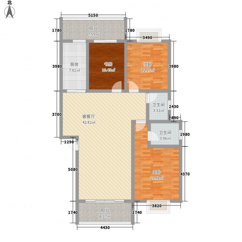 理想岭域127.00㎡10#B户型3室2厅2卫1厨