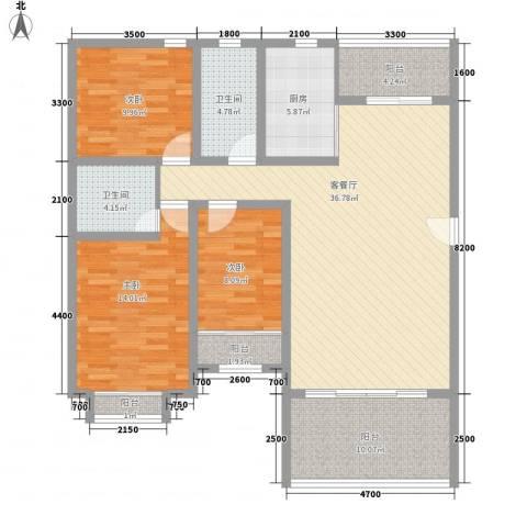 名仕园3室1厅2卫1厨116.35㎡户型图