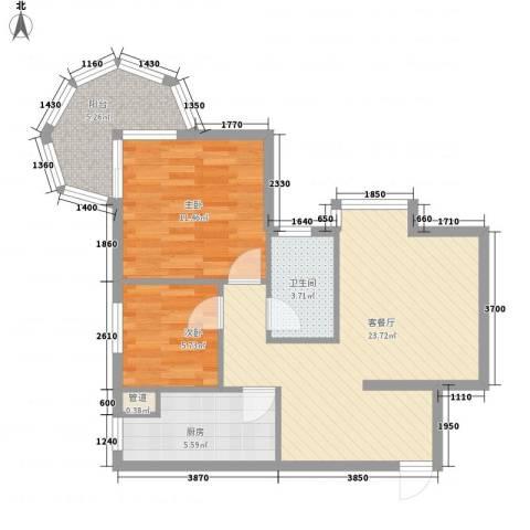 聚仙阁2室1厅1卫1厨103.00㎡户型图