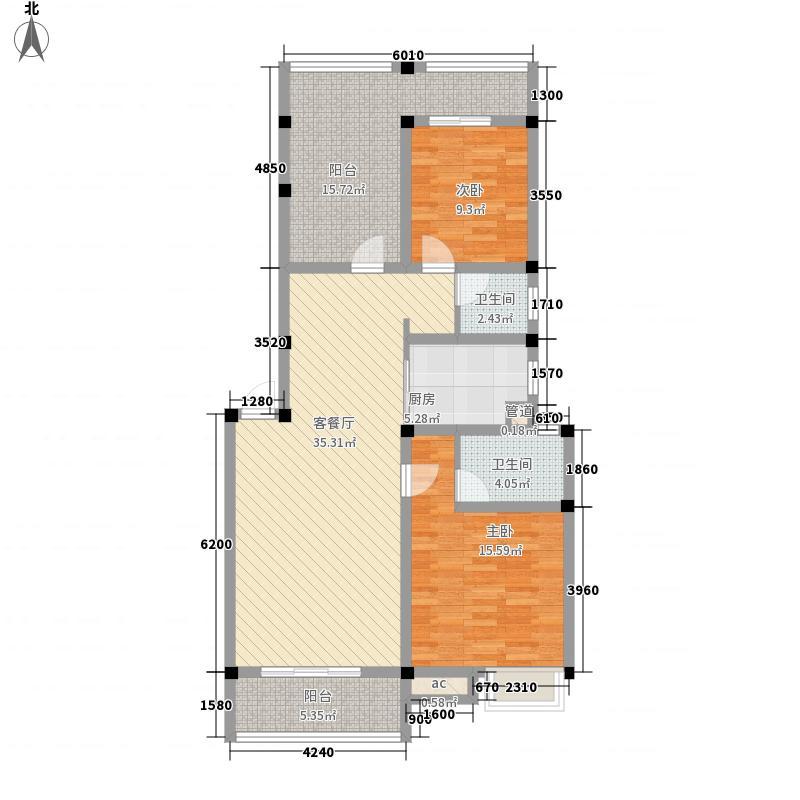 彰泰城27#A3户型2室2厅2卫1厨