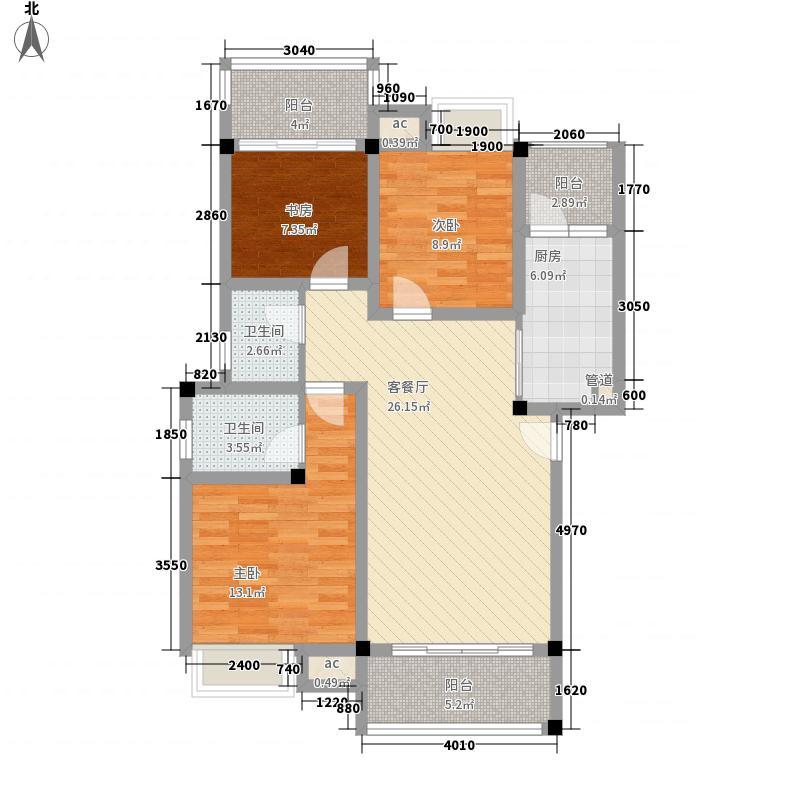 彰泰城49#A11户型3室2厅2卫1厨