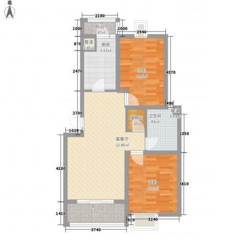 翠微品墅2室1厅1卫1厨89.00㎡户型图