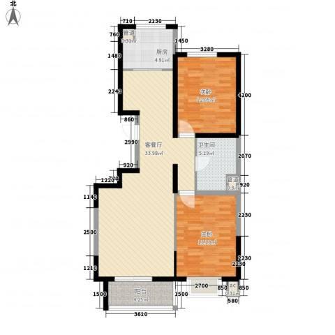 水木年华2室1厅1卫1厨110.00㎡户型图