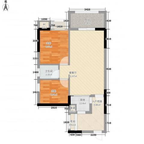 星星华园国际2室1厅1卫1厨78.00㎡户型图