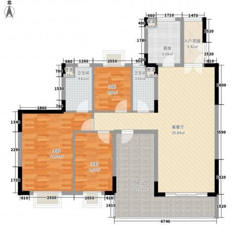精英世家3室1厅2卫1厨133.00㎡户型图