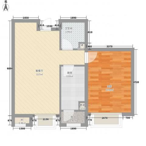 绿地新里中央公馆1室1厅1卫1厨73.00㎡户型图