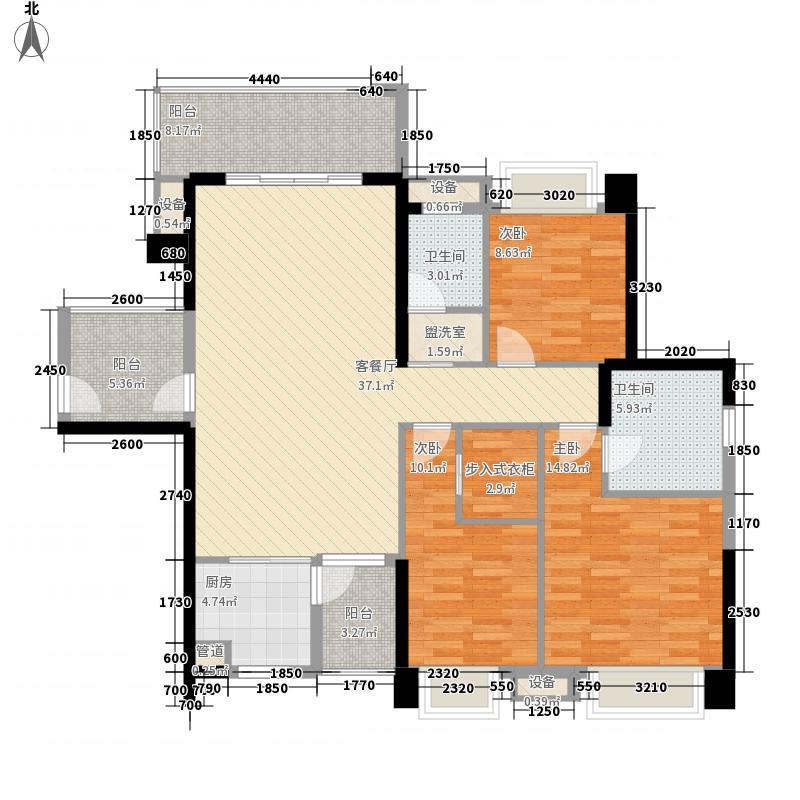 东郡146.25㎡三期鼎苑28#-B户型3室2厅2卫1厨