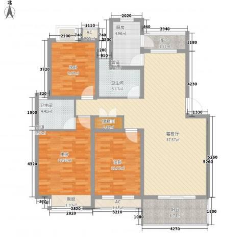 京东小区E区3室1厅2卫1厨104.07㎡户型图