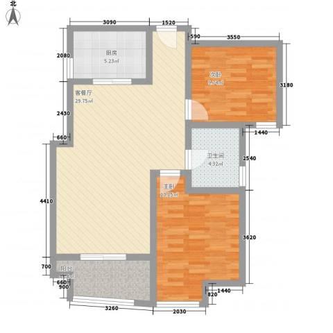 融锦融御华庭2室1厅1卫1厨97.00㎡户型图