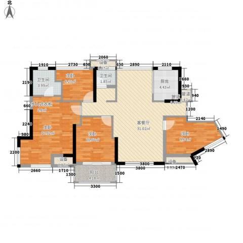 维一星城・原山苑4室1厅2卫1厨92.73㎡户型图