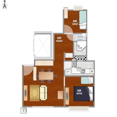 万科金色城市2室1厅1卫1厨63.00㎡户型图