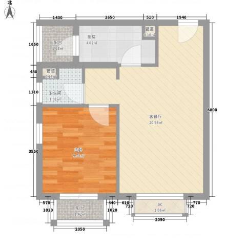 南郊新公馆1室1厅1卫1厨61.00㎡户型图