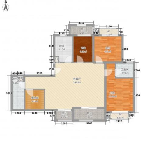 南郊新公馆3室1厅2卫1厨131.00㎡户型图