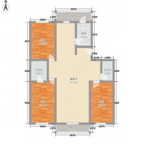 弘海小区3室1厅2卫1厨150.00㎡户型图