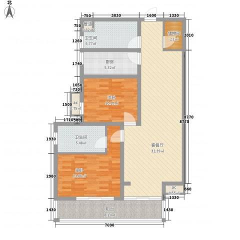 愚园公馆益都愉园2室1厅2卫1厨122.00㎡户型图