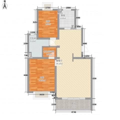 小上海新城三期2室1厅1卫1厨110.00㎡户型图