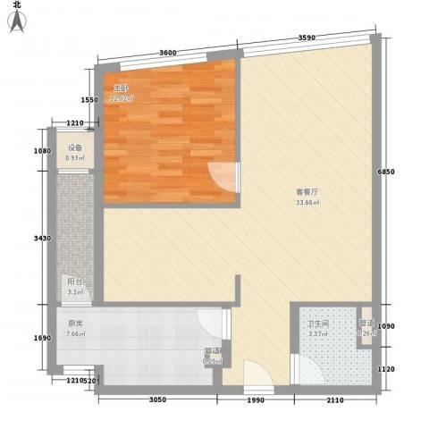 首信银都大厦1室1厅1卫1厨88.00㎡户型图