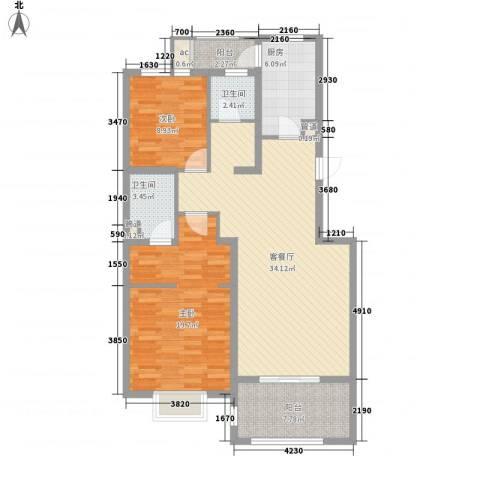 申亚瑞庭2室1厅2卫1厨122.00㎡户型图