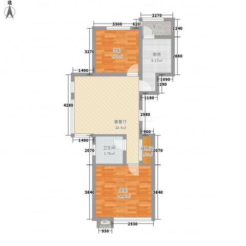 北方尚品2室1厅1卫1厨89.00㎡户型图