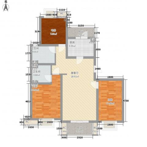 小上海新城三期3室1厅2卫1厨123.00㎡户型图