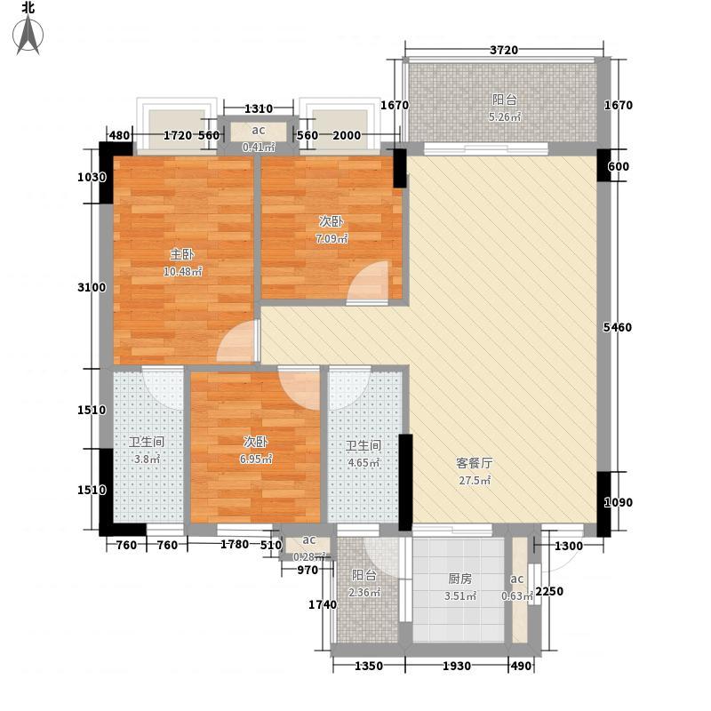 银丰花园户型图40座-43座01单元2-11层 3室2厅