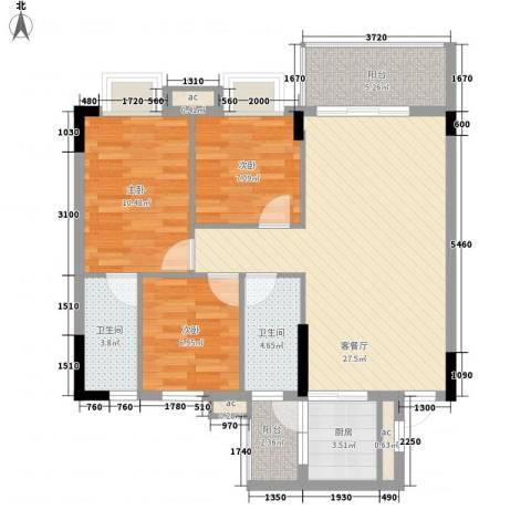 银丰花园3室1厅2卫1厨82.69㎡户型图