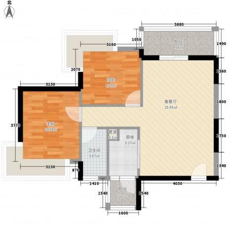 精英世家2室1厅1卫1厨71.00㎡户型图