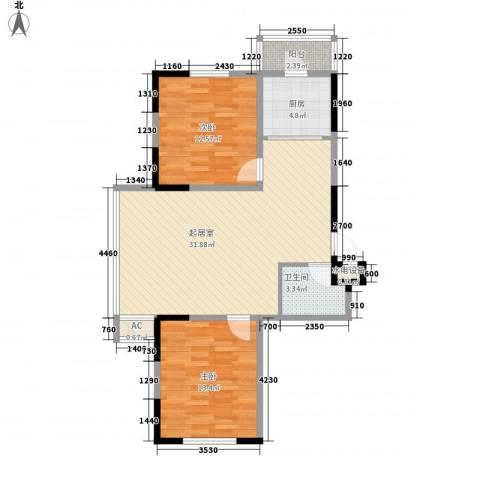 爵士A版2室0厅1卫1厨90.00㎡户型图