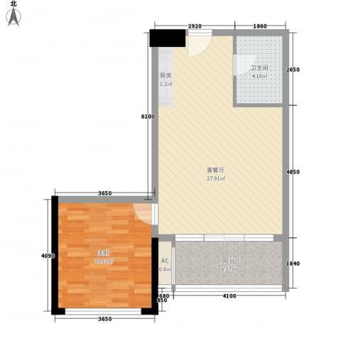 众一富东广场1室1厅1卫0厨75.00㎡户型图