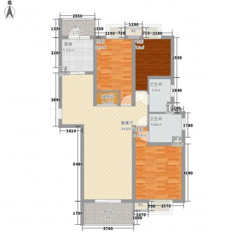 小上海新城三期3室1厅2卫1厨132.00㎡户型图