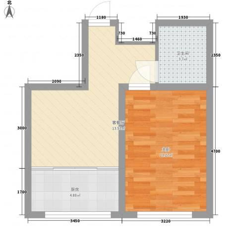 水景阁1室1厅1卫1厨52.00㎡户型图