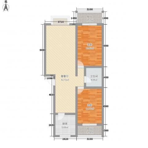 中润怡园2室1厅1卫1厨108.00㎡户型图