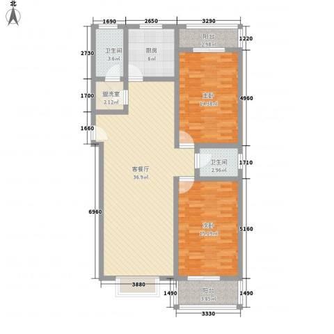中润怡园2室1厅2卫1厨127.00㎡户型图