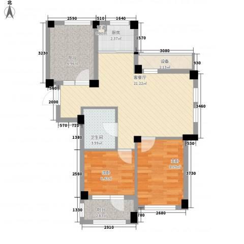 悦泰山里2室1厅1卫1厨80.00㎡户型图