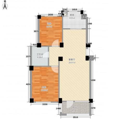悦泰山里2室1厅1卫1厨92.00㎡户型图