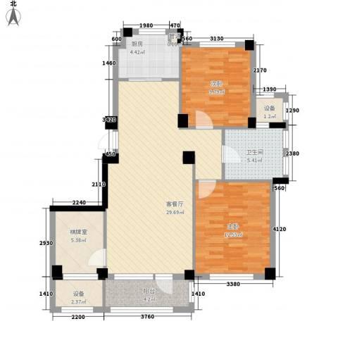 悦泰山里2室1厅1卫1厨109.00㎡户型图