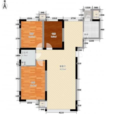 高格蓝湾3室1厅1卫1厨123.00㎡户型图