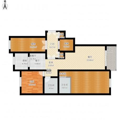 上东阳光1室1厅2卫1厨122.00㎡户型图
