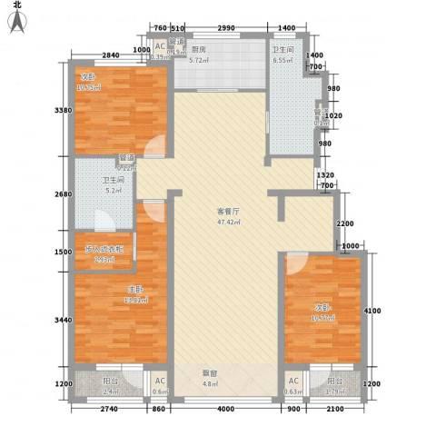 中粮万科紫云庭3室1厅2卫1厨135.00㎡户型图