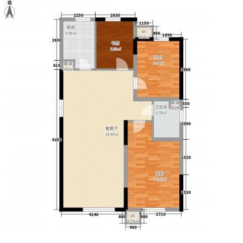 高格蓝湾3室1厅1卫1厨120.00㎡户型图