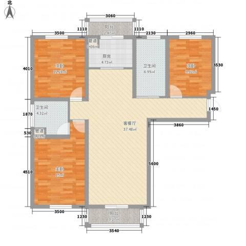 高格蓝湾3室1厅2卫1厨138.00㎡户型图