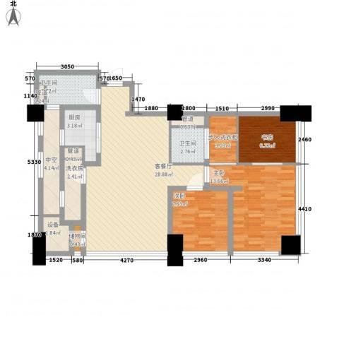 公园壹号国际公寓3室1厅2卫1厨95.67㎡户型图