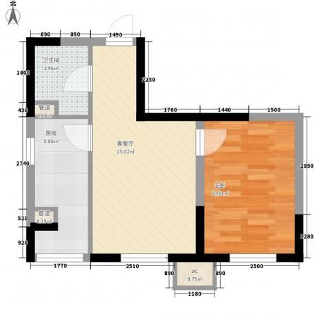 高格蓝湾1室1厅1卫1厨50.00㎡户型图