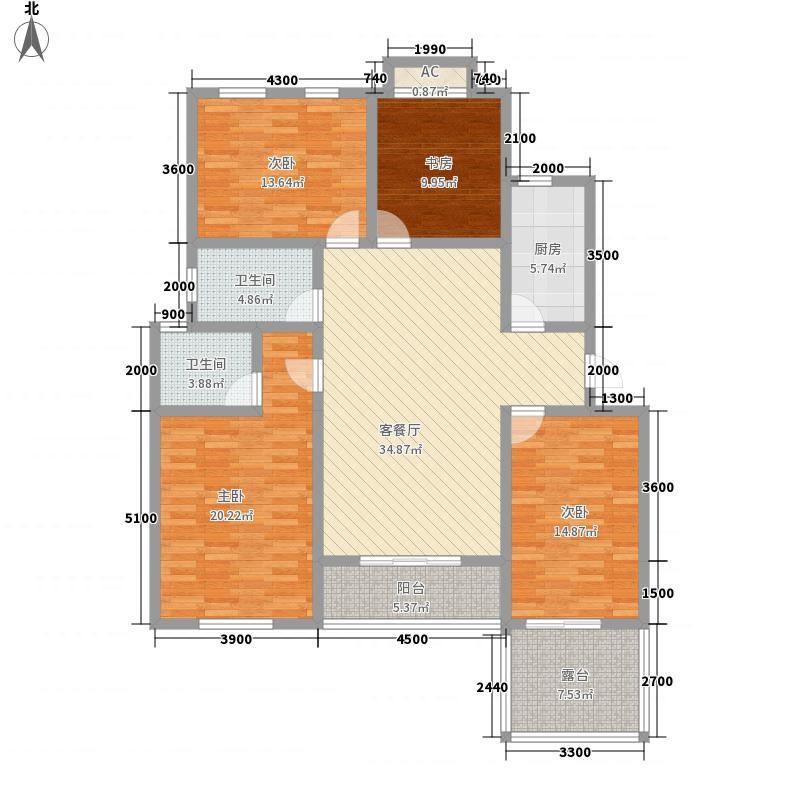 泉山森林海14.54㎡B二楼中户户型4室2厅2卫1厨
