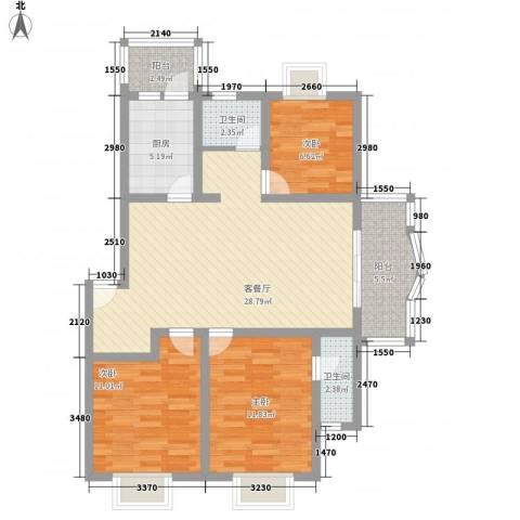 东方滨港园3室1厅2卫1厨111.00㎡户型图
