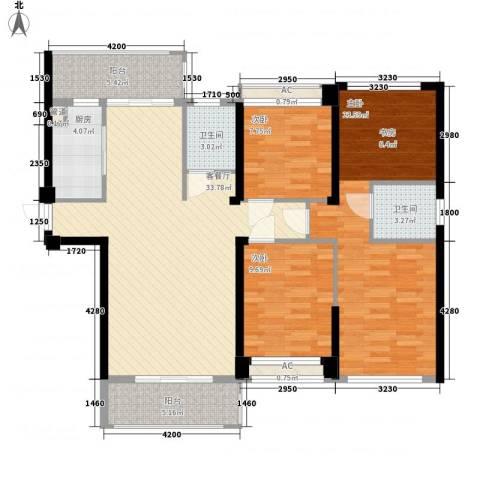 嘉福国际3室1厅2卫1厨142.00㎡户型图